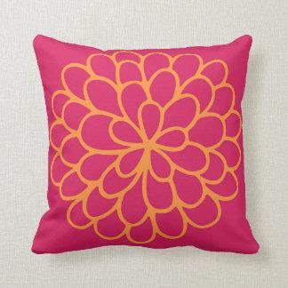 Pink and Orange Chrysanthemum Pillow