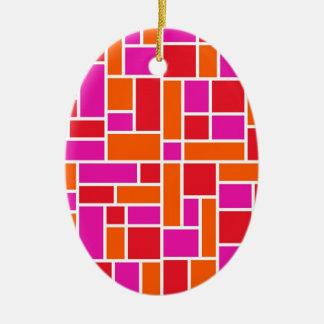 Pink and Orange Color Block Ceramic Oval Decoration