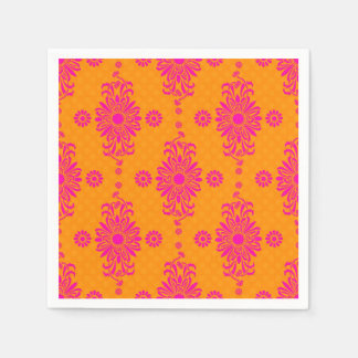 Pink and Orange Daisy Floral Pattern Paper Napkins