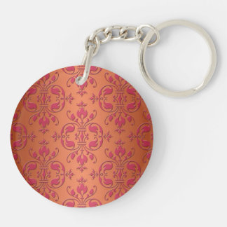 Pink and Orange Damask Double-Sided Round Acrylic Key Ring