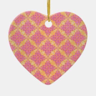 PInk and Orange Damask Pattern Ceramic Heart Decoration
