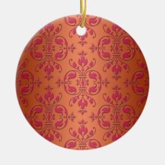 Pink and Orange Damask Round Ceramic Decoration