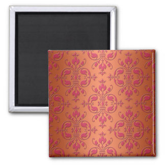 Pink and Orange Damask Square Magnet