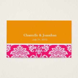 Pink and Orange Elegant Damask Business Card