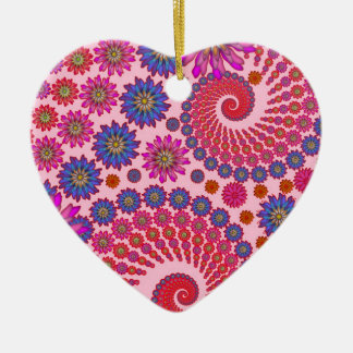 Pink and Orange Floral Abstract Art Ceramic Heart Decoration