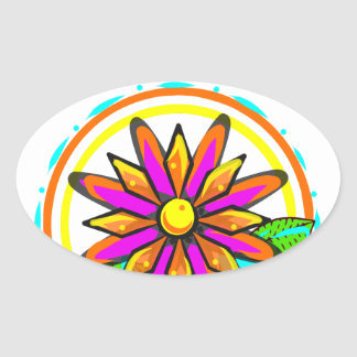 Pink and orange floral design oval sticker