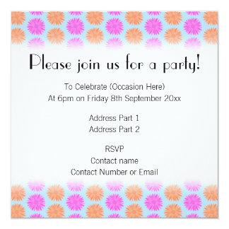 Pink and Orange Floral Pattern on Light Blue. Custom Invites