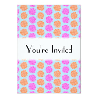 Pink and Orange Floral Pattern on Light Blue. Invitations