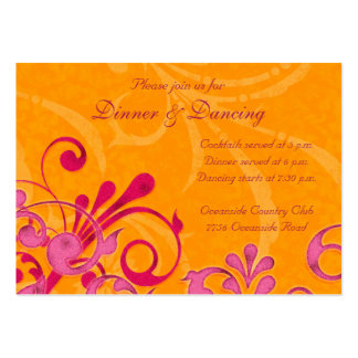 Pink and Orange Floral Wedding Reception Card Pack Of Chubby Business Cards