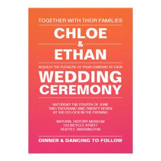 Pink and Orange Ombre Wedding Custom Invitations