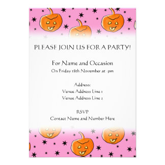Pink and Orange Pattern for Halloween Custom Announcement