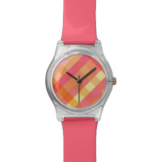 Pink and orange plaid watch
