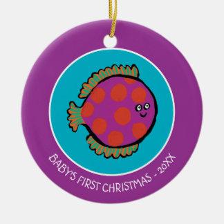 Pink and Orange Polka-Dot Fish Christmas Ornament