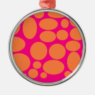 pink and orange polka-dot Silver-Colored round decoration