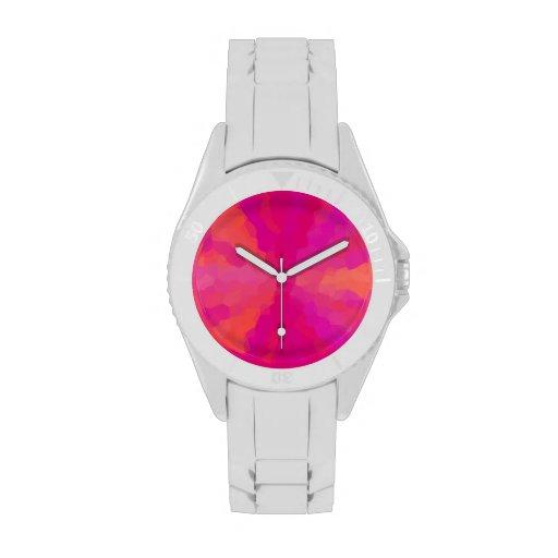 Pink and Orange Sunburst Wrist Watch