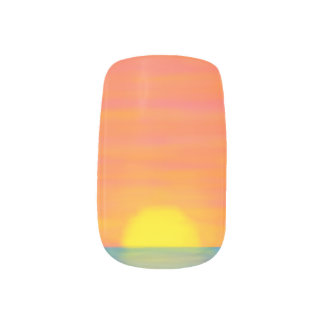 Pink and Orange Sunset w/ Blue Colorful Nails Nail Art