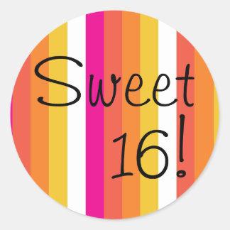 Pink and Orange Sweet Sixteen Round Sticker