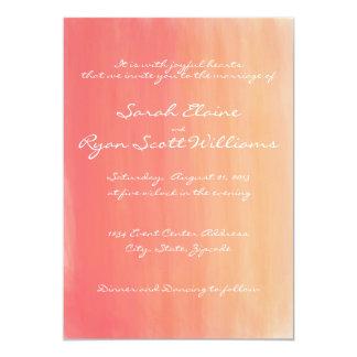 Pink and Orange Watercolor Wedding Invitation