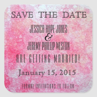 Pink and Peach Watercolour Save the Date Square Sticker