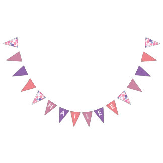 Pink and Purple Circle Name Banner Flags