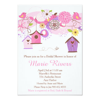 Pink and Purple Floral Bird Cages Bridal Shower Card