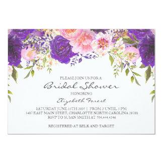 Pink and purple flowers  bridal shower invitation