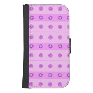 Pink and Purple Flowers Pattern Samsung S4 Wallet Case