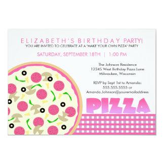 "Pink and Purple Pizza Party Invitation 5"" X 7"" Invitation Card"