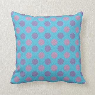 Pink and purple polka dot print pillow