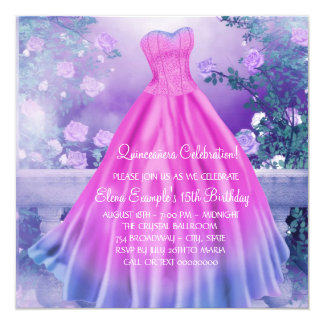 Pink and Purple Quinceanera 13 Cm X 13 Cm Square Invitation Card