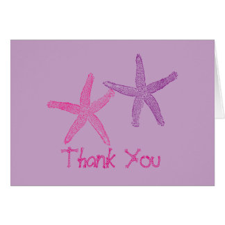 Pink and Purple Starfish Lilac Thank You Greeting Card