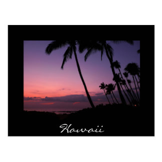 Pink and purple sunset black Hawaii postcard