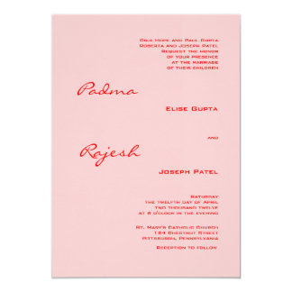Pink and Red Paisley Indian Wedding Card