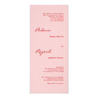 "Pink and Red Paisley Indian Wedding 4"" X 9.25"" Invitation Card"