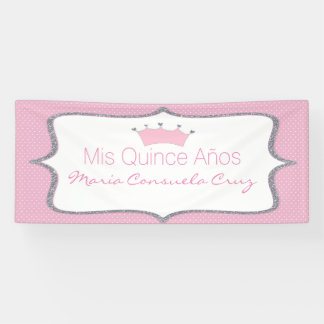 Pink and Silver Crown Polka Dot Quinceanera Banner