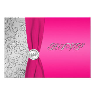 Pink and Silver Damask Quinceanera RSVP Card