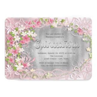 Pink and Silver Foil Floral Quinceañera 11 Cm X 16 Cm Invitation Card