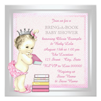 Pink and Silver Girls Bring a Book Baby Shower Card