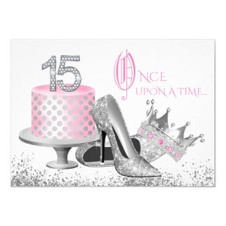 Pink and Silver Quinceanera Birthday Party 11 Cm X 16 Cm Invitation Card