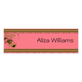 Pink and Tan Abstract Bird Business Card Template