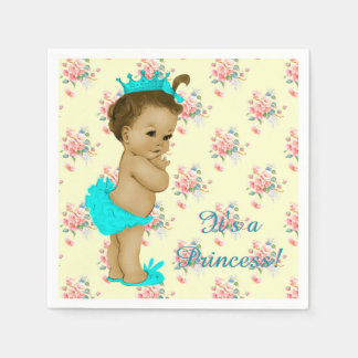 Pink and Teal Blue Baby Shower Disposable Serviette