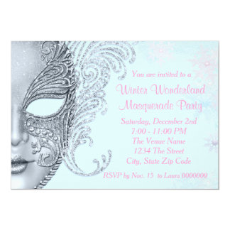 Pink and Teal Blue Winter Wonderland Party 13 Cm X 18 Cm Invitation Card
