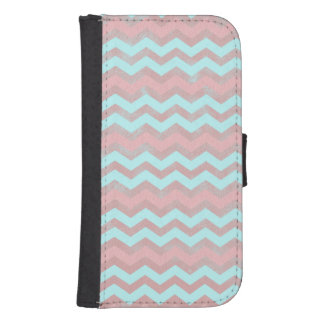 Pink and Teal Chevron Zigzag Pattern Samsung S4 Wallet Case