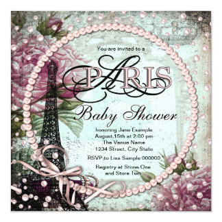 Pink and Teal Chic Paris Baby Shower 13 Cm X 13 Cm Square Invitation Card