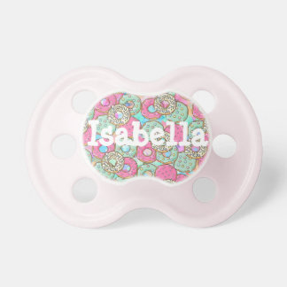 Pink and Teal Frosted Doughnuts Baby Girl Pacifier