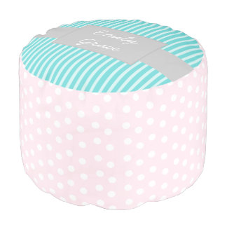 Pink and Teal Polka Dot Personalized Pouf