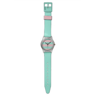 Pink and Turquoise Striped May28 Plastic Watch