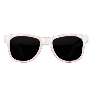 Pink and White Abstract Circle Pattern Sunglasses