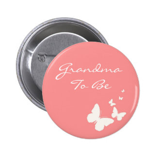 Pink and White Butterfly Grandma To Be Pin