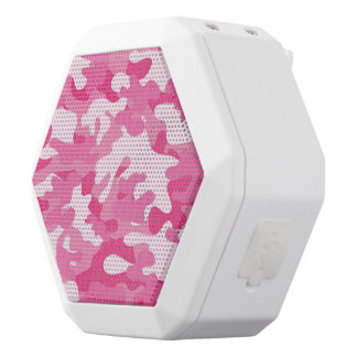 Pink and White Camo Design White Bluetooth Speaker
